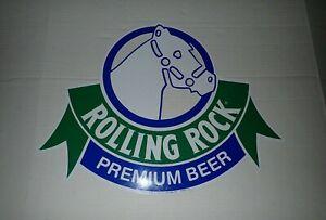 Rolling Rock Premium Beer Sign tin 1991 15.5 x 20 Horse Head Blue Green Vintage