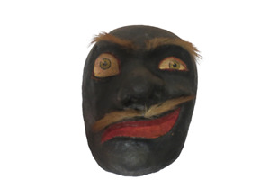 Vintage 1960s Hand Made Hand Painted Mask Wall Hanging Decor Wood Paper Mache