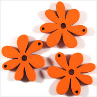 Lot de 10 Fleurs Perles en Bois 25mm Orange