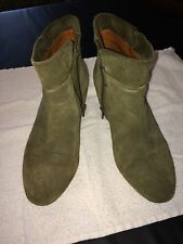 "Lucky Brand ankle boots booties olive green 2"" hidden wedge EUC 7 1/2 suede"