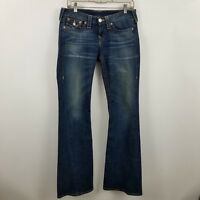 True Religion Joey Womens Boot Cut Flare Flap Pocket Dark Wash Blue Jeans Sz 29