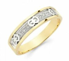 Men's 14k Solid Yellow and White Gold Band Ring