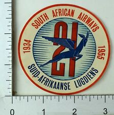 1955 South African Airways 21 Suid-Afrikaanse Luggage Label Coaster Stamp E9