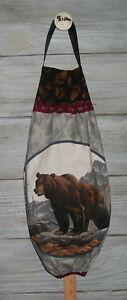 Brown Bear Mountains VTG Plastic Grocery Bag Rag Sock Holder Organizer Handmade