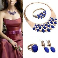 4pcs Jewelry Sets Gold Plated Necklace Earrings Blue Drop Water For Women Hot MT