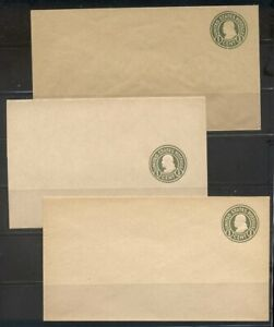 U.S. #U424-26 (2134, 5, 8) Mint Entires - 1c Green on Manila ($54)