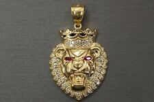 "10K Solid Yellow Gold 1"" Lion King Crown Red Eyes Ruby CZ Pendant."
