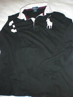 Polo black long sleeved polo t shirt with big horse motif