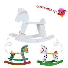 Kids DIY White Wooden Rocking Horse Baby Playroom Ride On Pony Rocker Play Toys+