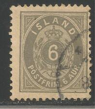 Iceland #25 (A2) FVF USED - 1897 6a Numeral Value (Gray)