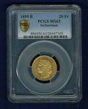SWITZERLAND REPUBLIC  1895 20 FRANCS GOLD COIN UNCIRCULATED CERTIFIED PCGS MS63