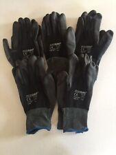 5 Pairs Xl Posigrip Black Nylon Pu Construction Garden Safety Work Gloves