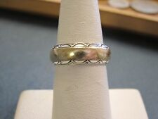 antique vntg unique nice design 2-tone solid 14K GOLD wedding band size 6 women