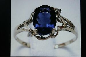 Beautiful 9CT Yellow Gold Ring With Natural Iolite & Diamond Size O12 In Gift B