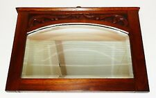 "Antique English Art Nouveau 18"" Walnut Carved Beveled Wall Mirror"