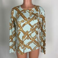 J. McLaughlin Womens Sweater Blue Gold Chain Print Pullover Button Detail Size L