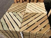 4X Pavimento Piastrelle Esterno Legno Impregnato 50X50CM Spessore 4cm  Antimuffa