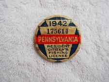 Vintage 1942 PA Pennsylvania Resident Fishing Badge License Pinback Button