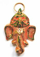 **Beautiful** Small Gold Coloured Ganesh Hindu Metal Wall Plaque Mask 7.5cm
