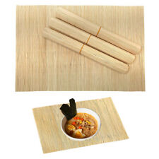 4 Pack Natural Rollup Bamboo Placemats Rectangle Dining Table Oriental Mat Decor