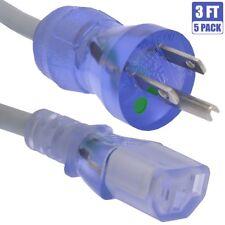 5x 3ft 18 Gauge 3-Prong NEMA 5-15P to IEC320 C13 Hospital Grade Power Cord Cable