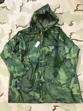 Us Army Parka Wet Weather Rain Jacket Rainsuit Woodland Camo Sz Medium