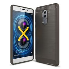 Huawei Honor 6X TPU Case Carbon Fiber Look Brushed Motif Protective Grey New