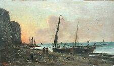 Tableau ancien huile marine bord de mer animé bateaux pêcheurs signé XIXème