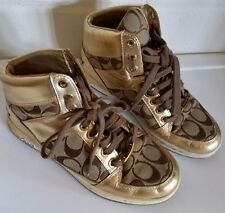 Coach Norra Gold Signature C Logo HI Top Sneakers A1431 Size 6 1/2 Rare Retro