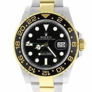 Rolex GMT-Master II Ceramic Black 18K Two-Tone Gold Stainless 40mm Watch 116713