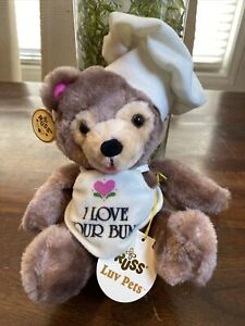 "Vintage 1970's RUSS Luv Pets 10"" Bear Plush ""I Love Your Buns"" W Tags! NICE!"