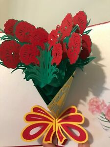 3D Pop Up Love Greeting Card Valentine Mother's Day Carnation Bouquet flowers
