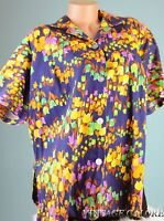Vintage  80s Multi color floral Summer Day Blouse Top Shirt Sz L