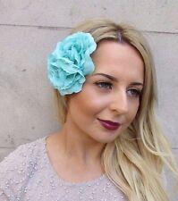 Bleu Turquoise Double Camellia Pince Cheveux Fleur Rockabilly Années 1950 Rose