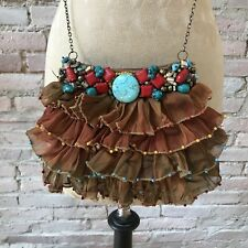 Mary Frances Shoulder Bag Purse Beaded Ruffled Silk Chain Handle