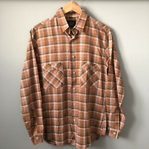 LEVI'S Vintage 1980s Mens Orange Check Long Sleeve Casual Summer Shirt MEDIUM