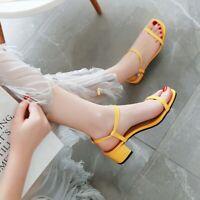 Women Med Heel Chunk Sandals Peep Toe Ankle Strap Casual Slingback Shoe Big Size