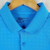 NIKE GOLF Size Large Blue Bow-Tie Print Polo Shirt DRI-FIT Mens Golf Casual