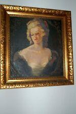 Beautiful Woman Portrait Antique Original Painting Oil On Board Signed J. Nosek