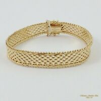 """7"""" 14K Yellow Gold Panther Chain Bracelet Mirror Bar IMPERIAL GOLD 17G   -c25 32"""