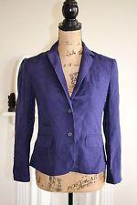 Diane Von Furstenberg 100% Silk Royal Purple Blazer XS 6 8 School Boy Button