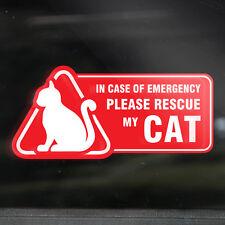 2x CAT LOVER EMERGENCY STICKER - Mirrored Window Decal - Danger, Crash Rescue