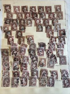 Huge Lot of 74 Early Rare US Stamps 1851 & 1861 Series Three 3 cent Washington