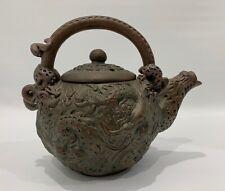 Bronze Chinese Dragon Mythological Animal Head Spout Teapot Marked