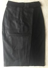 $375.00 White House Black Market Size 2 Black Leather And Suede Pencil Skirt