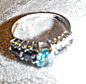 EXQUISITE FACETED BLUE TOPAZ BLUE WHITE DIAMANTE SILVER 925 RING BETWEEN N & O