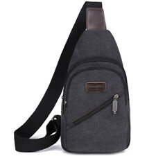 Men Women Canvas Crossbody Shoulder Chest Cycle Simple Loose Bag Travel Backpack