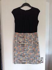 Stunning Ladies Next Black (Orange/Grey/White Pattern) Knee Length Dress-Size 10
