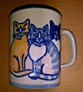 Louisville Stoneware Classy Cats Mug Made USA Paw Prints