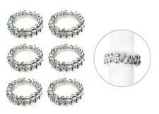 6 Napkin Rings Silver Jingle Bells Metal Christmas Xmas Party Table Set Round